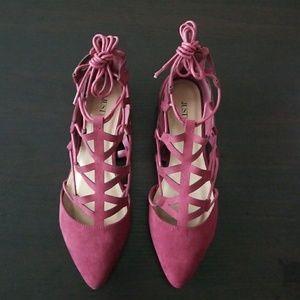 Burgundy faux suede lace-up flats